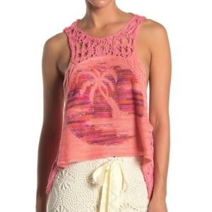 FREE PEOPLE CROCHET TANK, COLOR PINK COMBO SIZE M